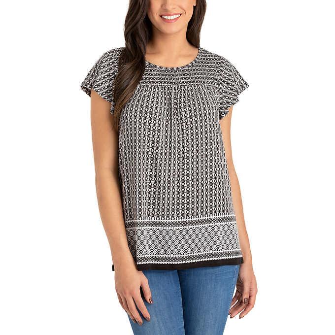 a3b953ee45bb61 Hilary Radley Printed Cap Sleeve Top. black 1 black 1