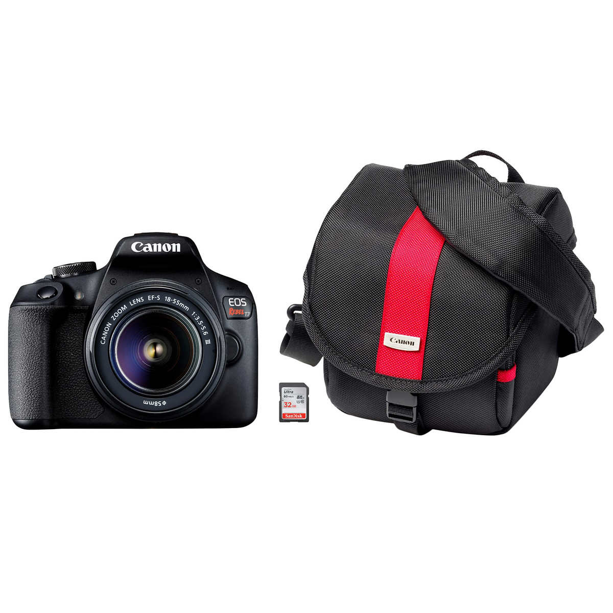Canon Eos Rebel T7 24 1 Mp Digital Slr Camera Built In Wi Fi And Nfc Includes Ef S 18 55 Lens Bag And 32 Gb Memory Card