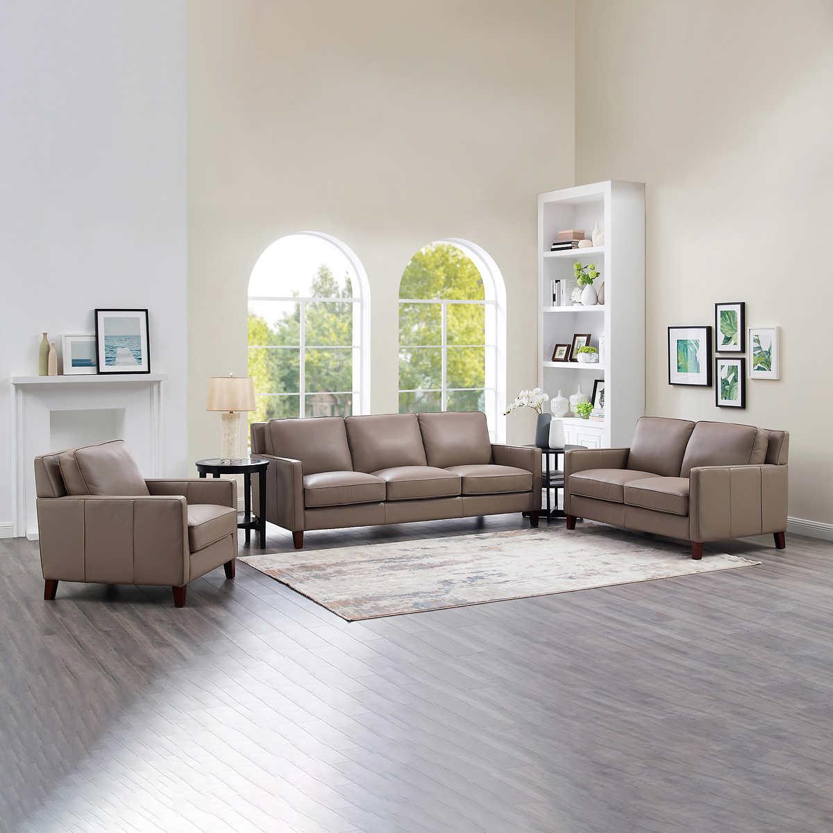 West Park Top-grain Leather Modern 3-piece Living Room Set