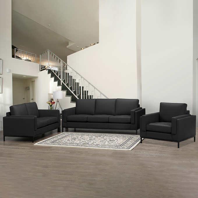 Monte Carlo Contemporary Top Grain Leather 3-piece Living Room Set