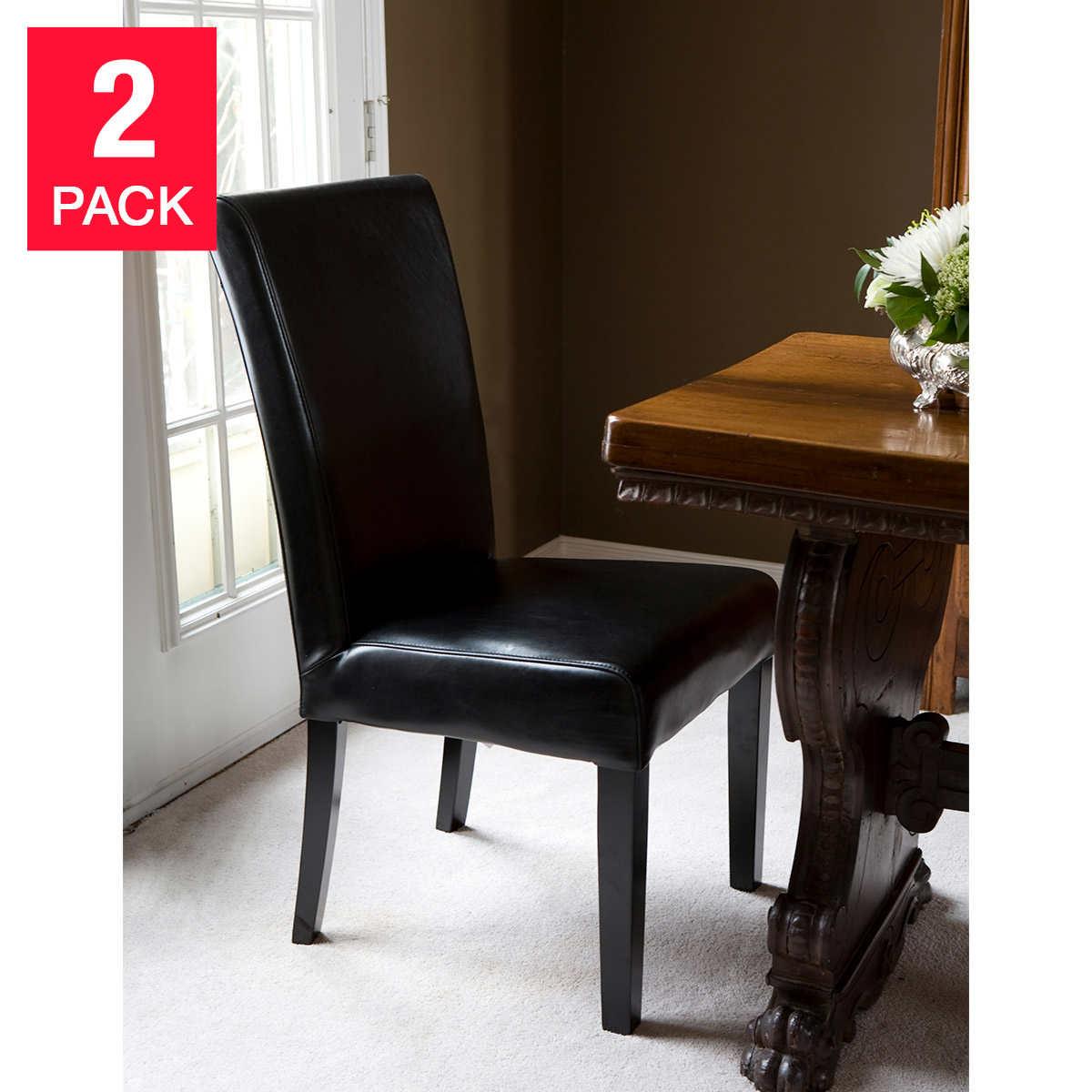 Parson chair leather - Boulevard Black Parson Chair 2 Pack