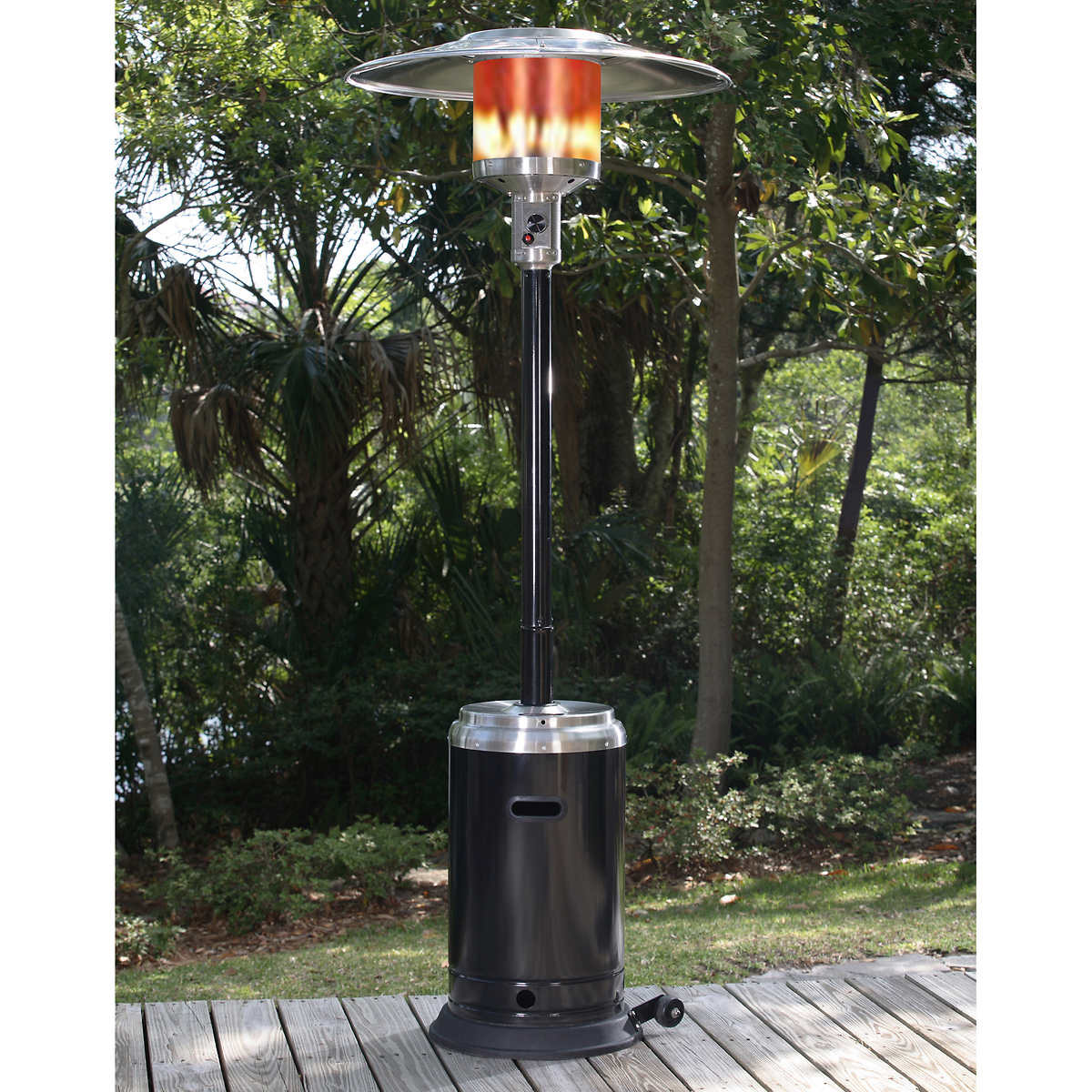 Paramount Black and Stainless Steel Full Size Propane Patio Heater - Patio Heaters & Fire Columns Costco