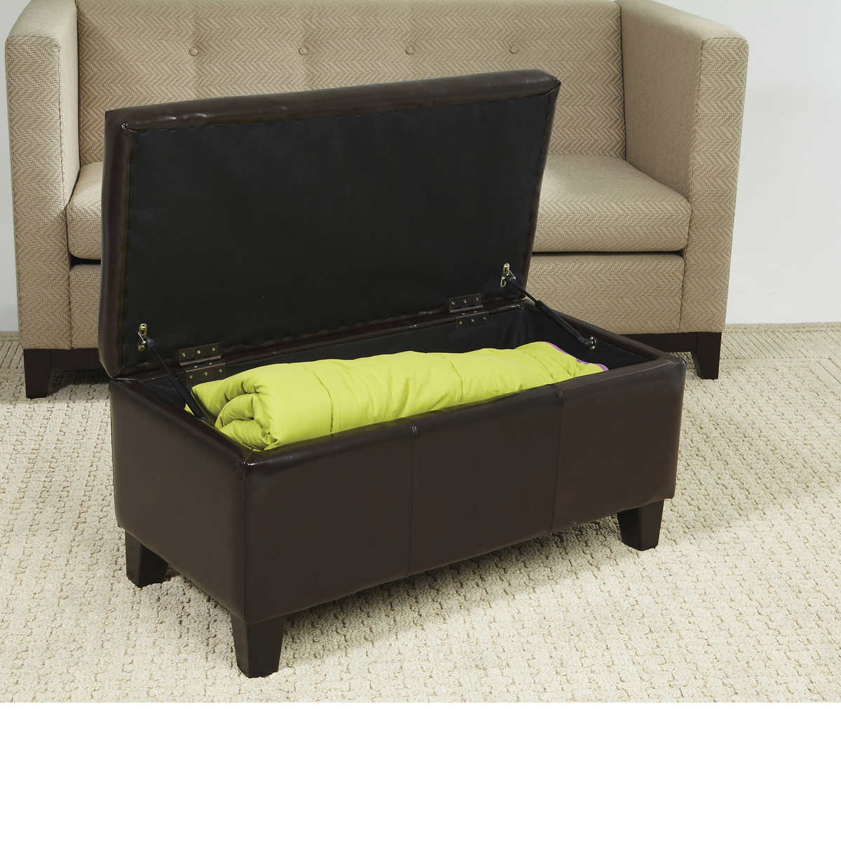 ottomans  benches  costco - detour brown bonded leather storage bench