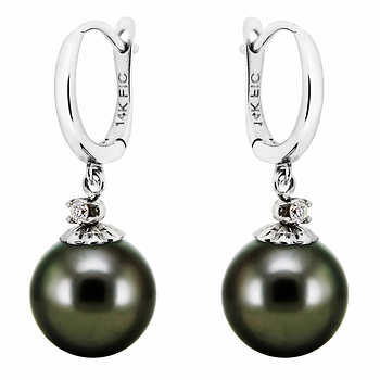 costco pearl earrings 9 0 10 0 mm cultured tahitian pearl and drop 4639