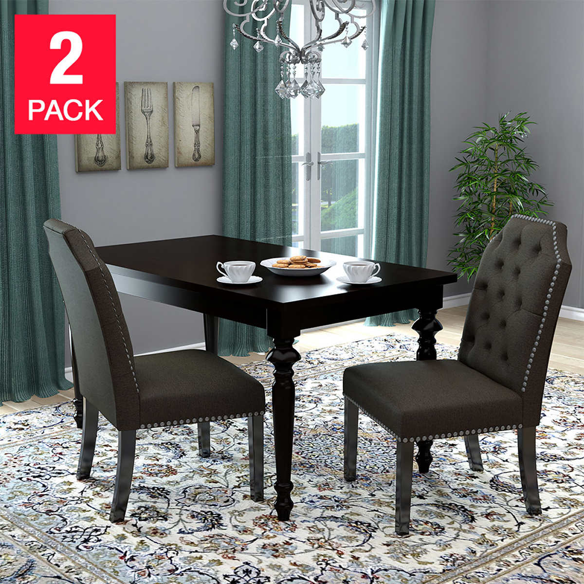 dining chairs costco michelle dining chair 2 pack brown