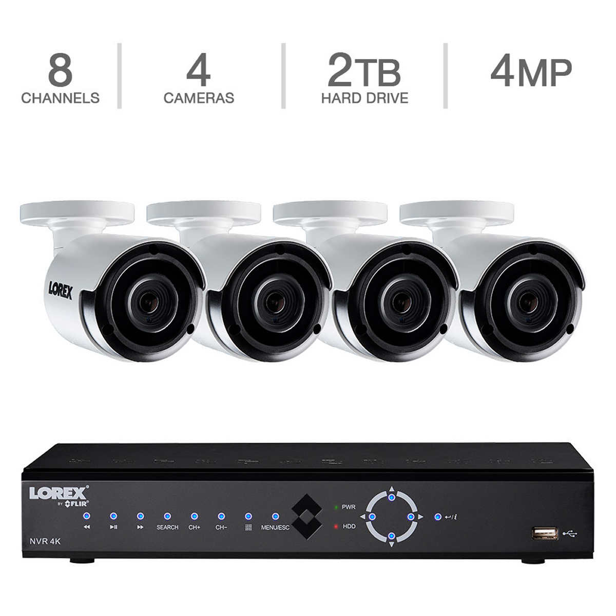 Lorex 8-Channel HD IP NVR with 2TB HDD 4 4MP Cameras with ...
