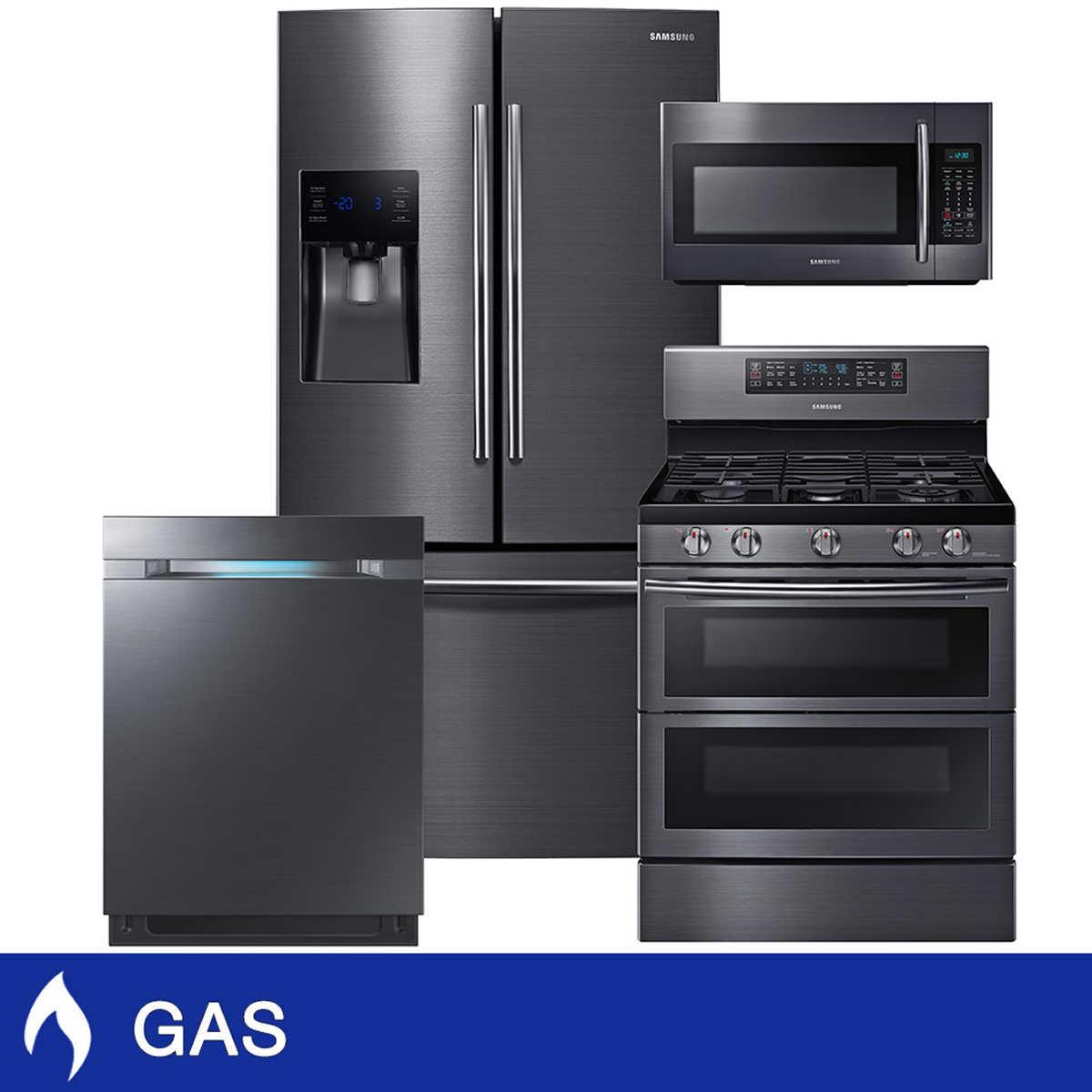 samsung 4-piece gas 25cuft 3-door french door refrigerator kitchen
