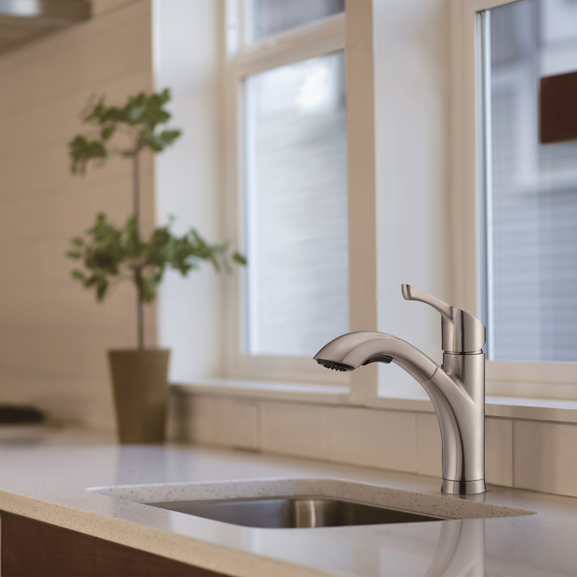 seaton kitchen pull out faucet in brushed nickelwaterridge