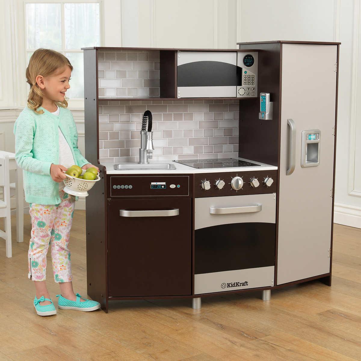 Kidkraft Large Play Kitchen Espresso Smart Sturdy Wood Construction Ebay