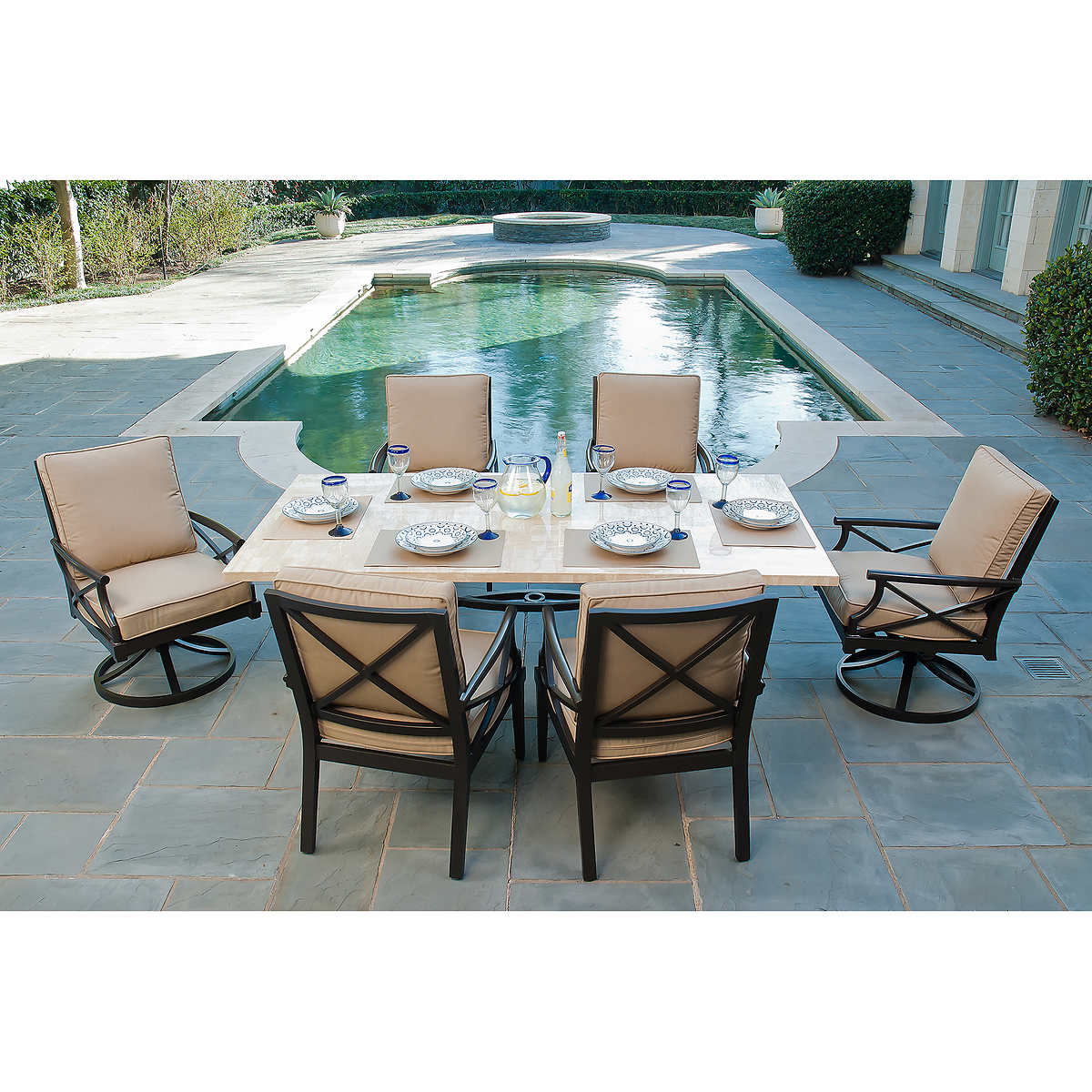 Outdoor Patio Dining Furniture travers 7-piece patio dining set