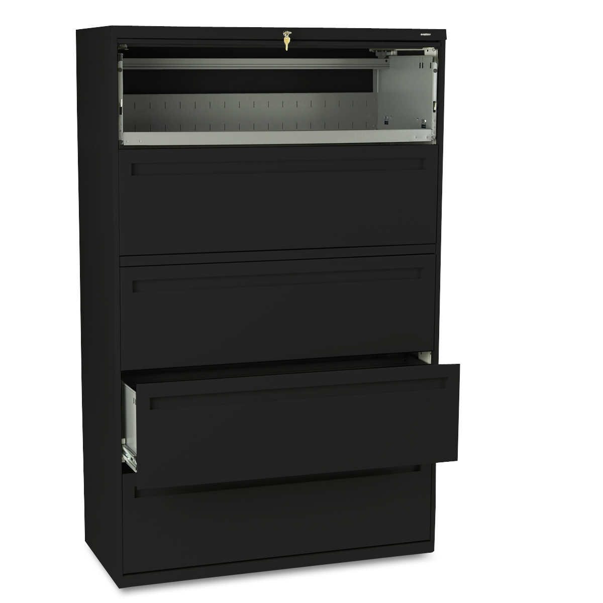 "hon 700 series 42""w 5-drawer lateral file black"