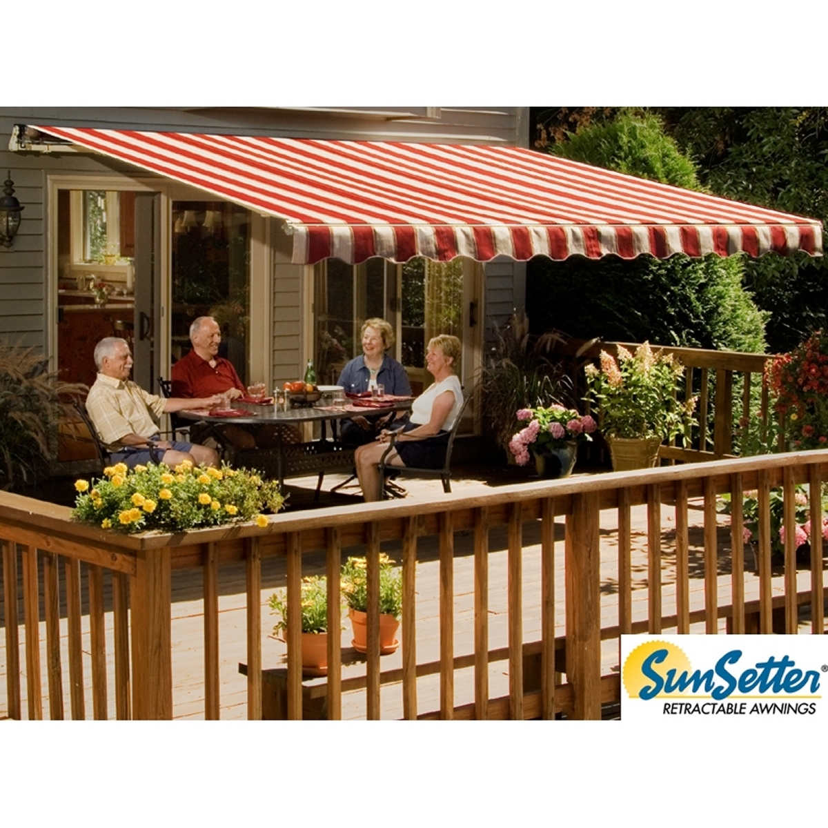 17 Motorized Retractable Awning With Woven Acrylic Fabric