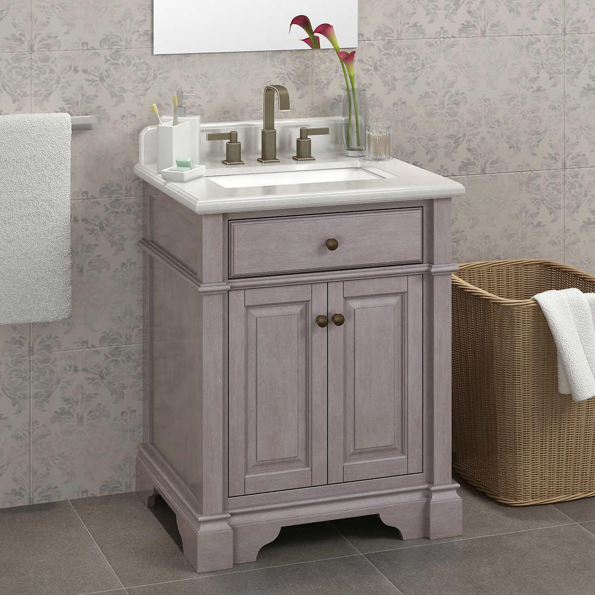 """Bathroom Cabinets Costco casanova 28"""" antique gray vanitylanza"""