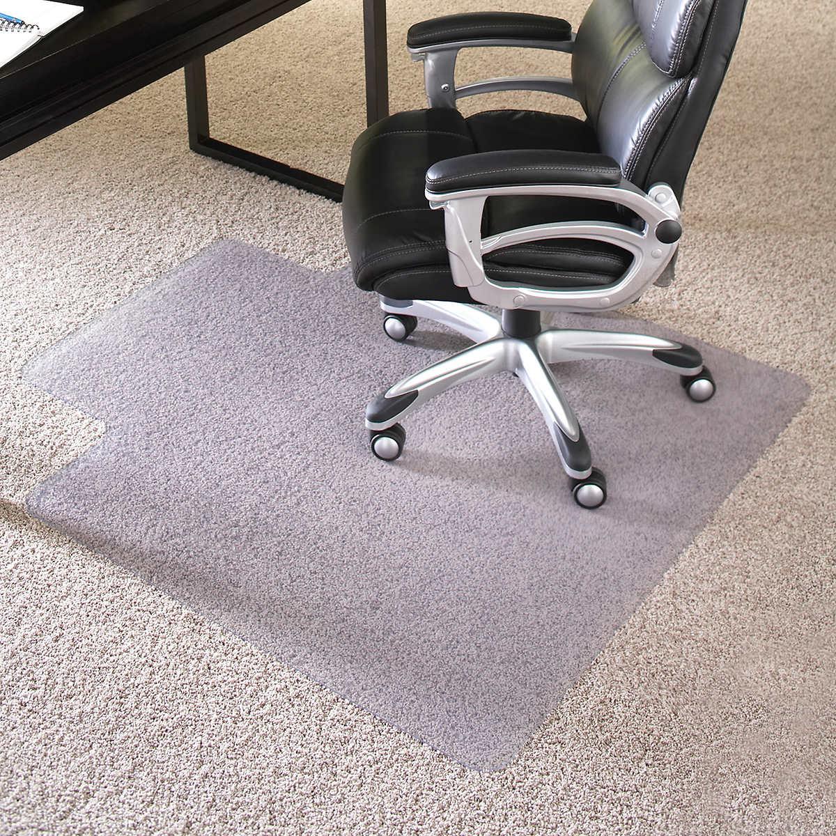 """Chair Mat With Lip es robbins chair mat for hard floors, 45"""" x 53"""" w/lip, clear"""
