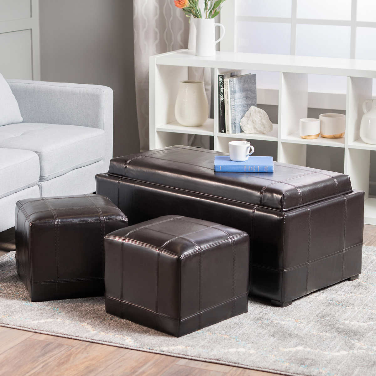 Living Room Ottoman brown ottomans & benches | costco