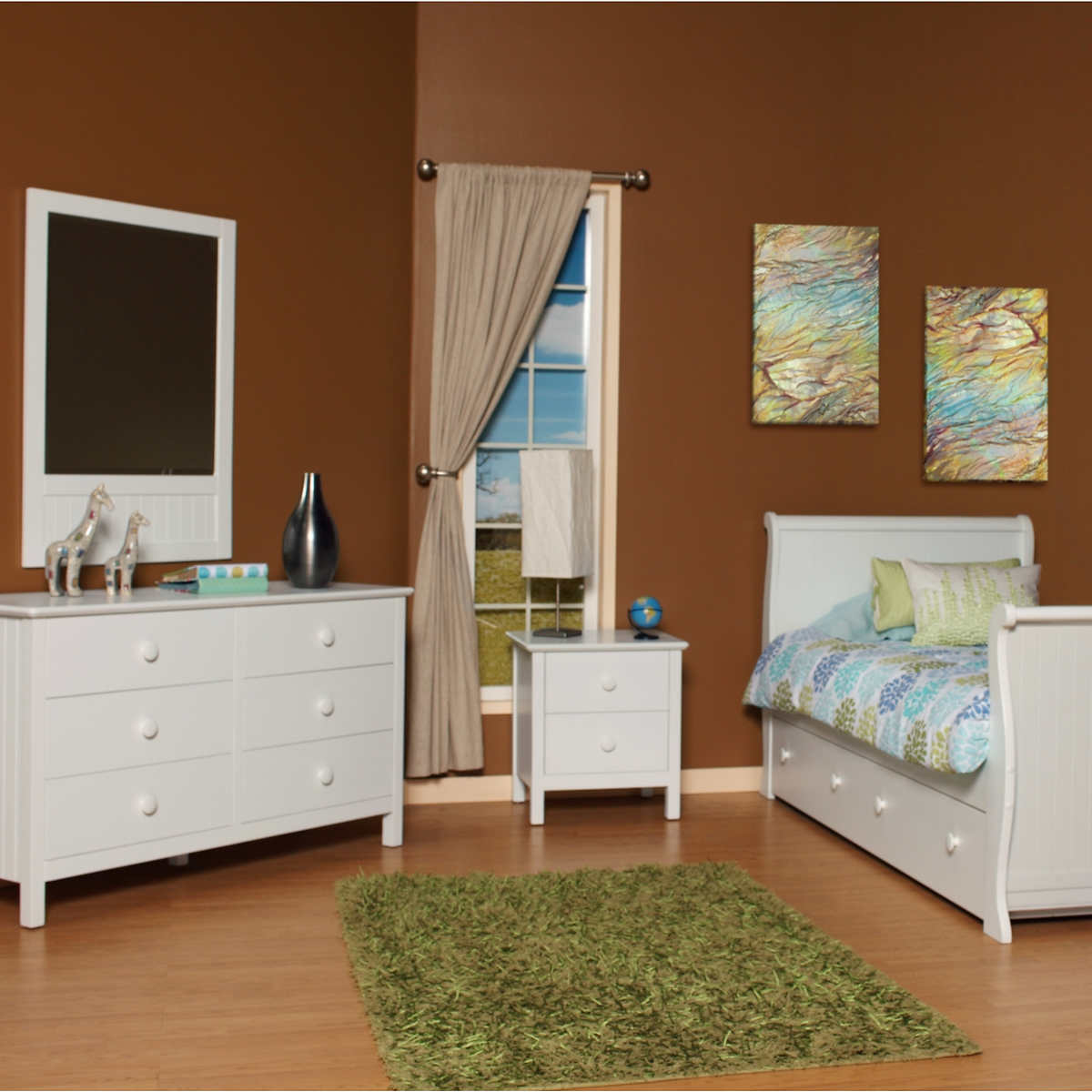 olivia 4-piece twin trundle bed set