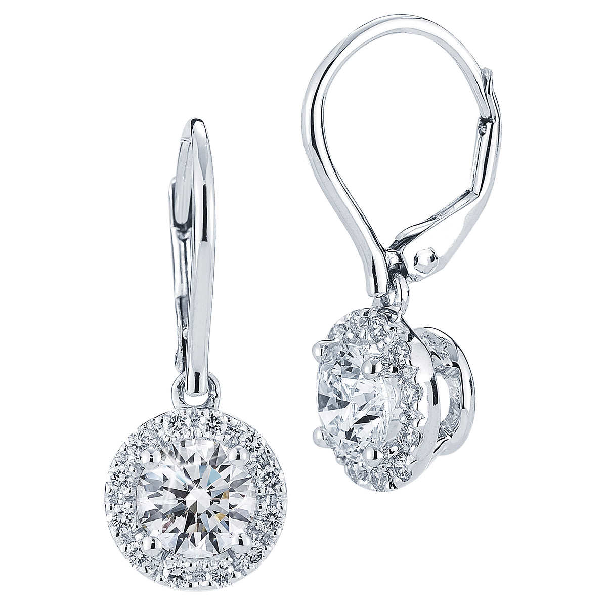 Drop Diamond Earrings White Gold TopEarrings