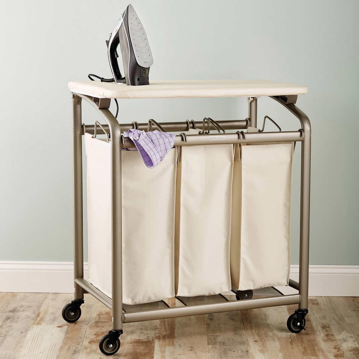 Seville Classics 3 Bag Laundry Sorter w Folding Table