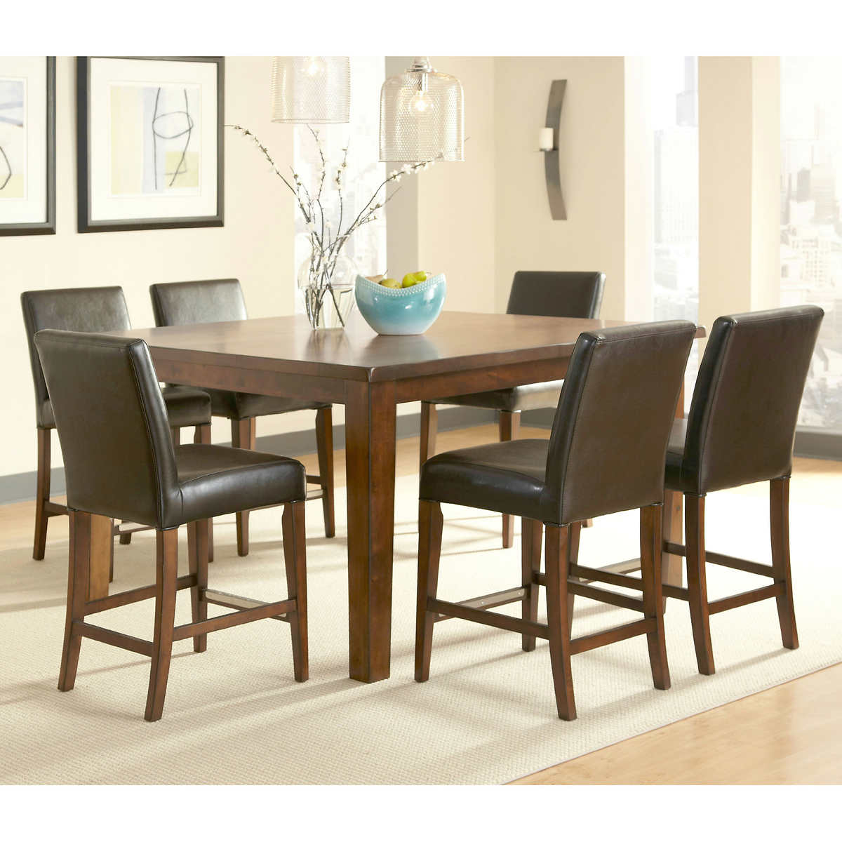 brookshire 7-piece square counter-height dining set