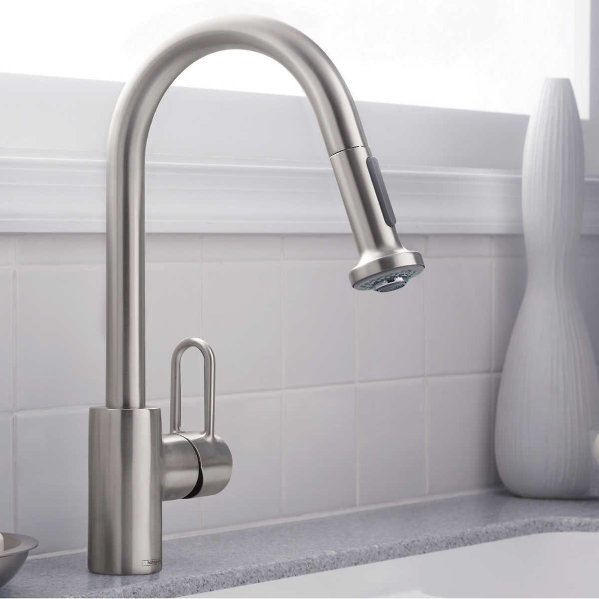 hansgrohe cento kitchen faucet in steel optik & chrome finish