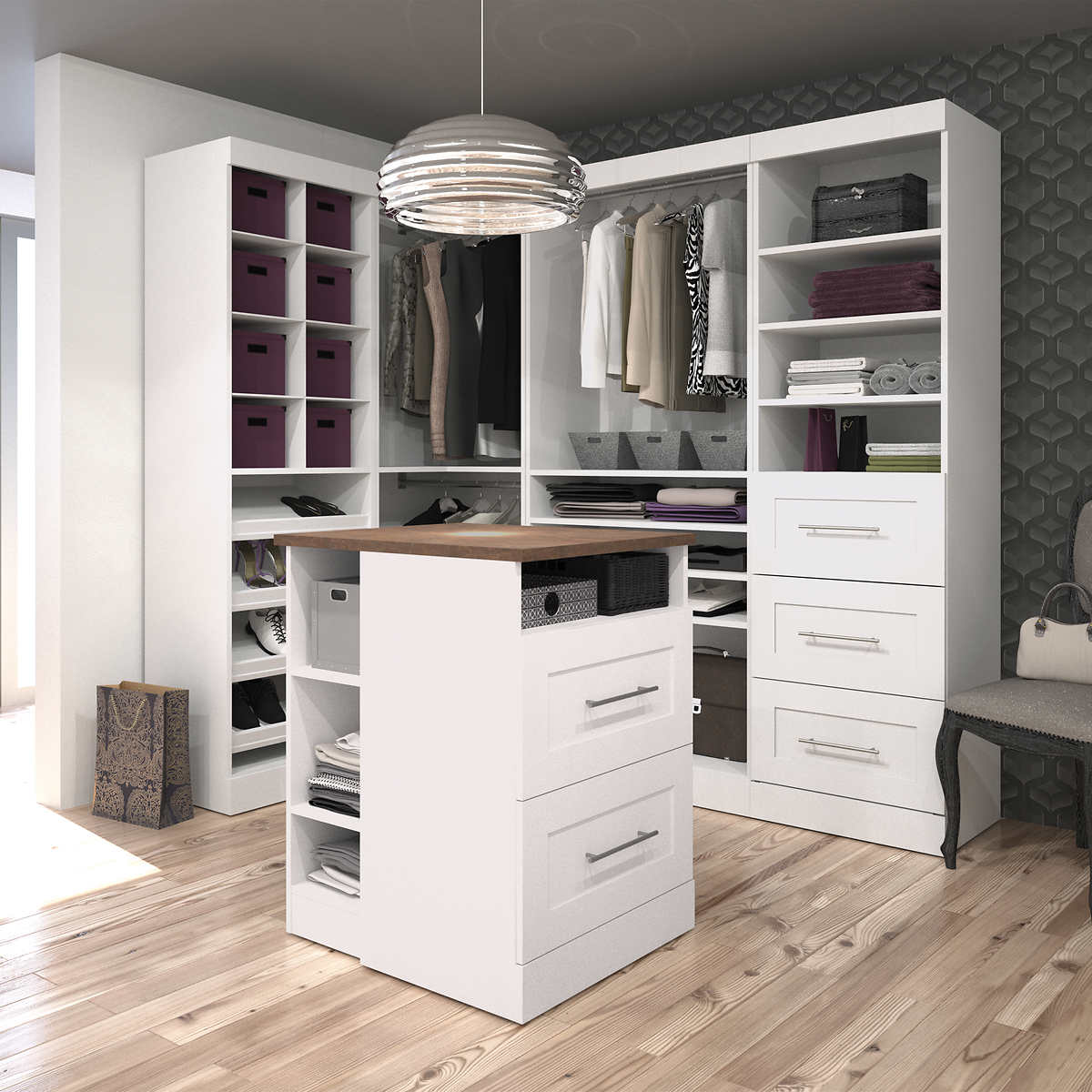 storage cabinets shelving units costco boutique corner kit with island