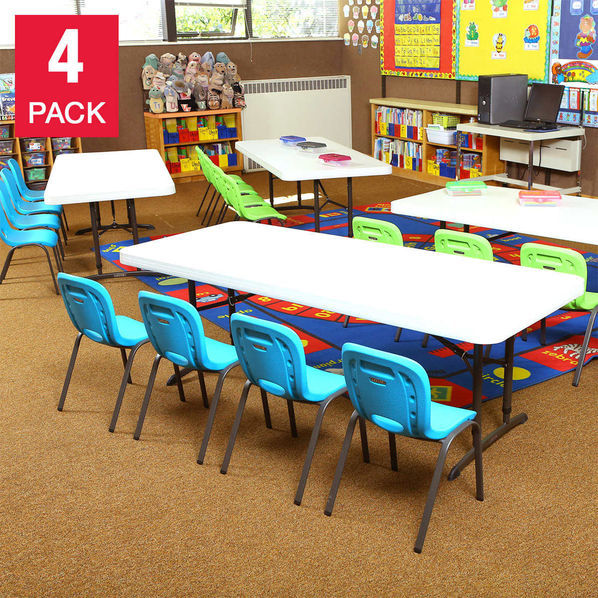 Lifetime 4 Pack Of 6 Tables With 16 Kid S Chairs
