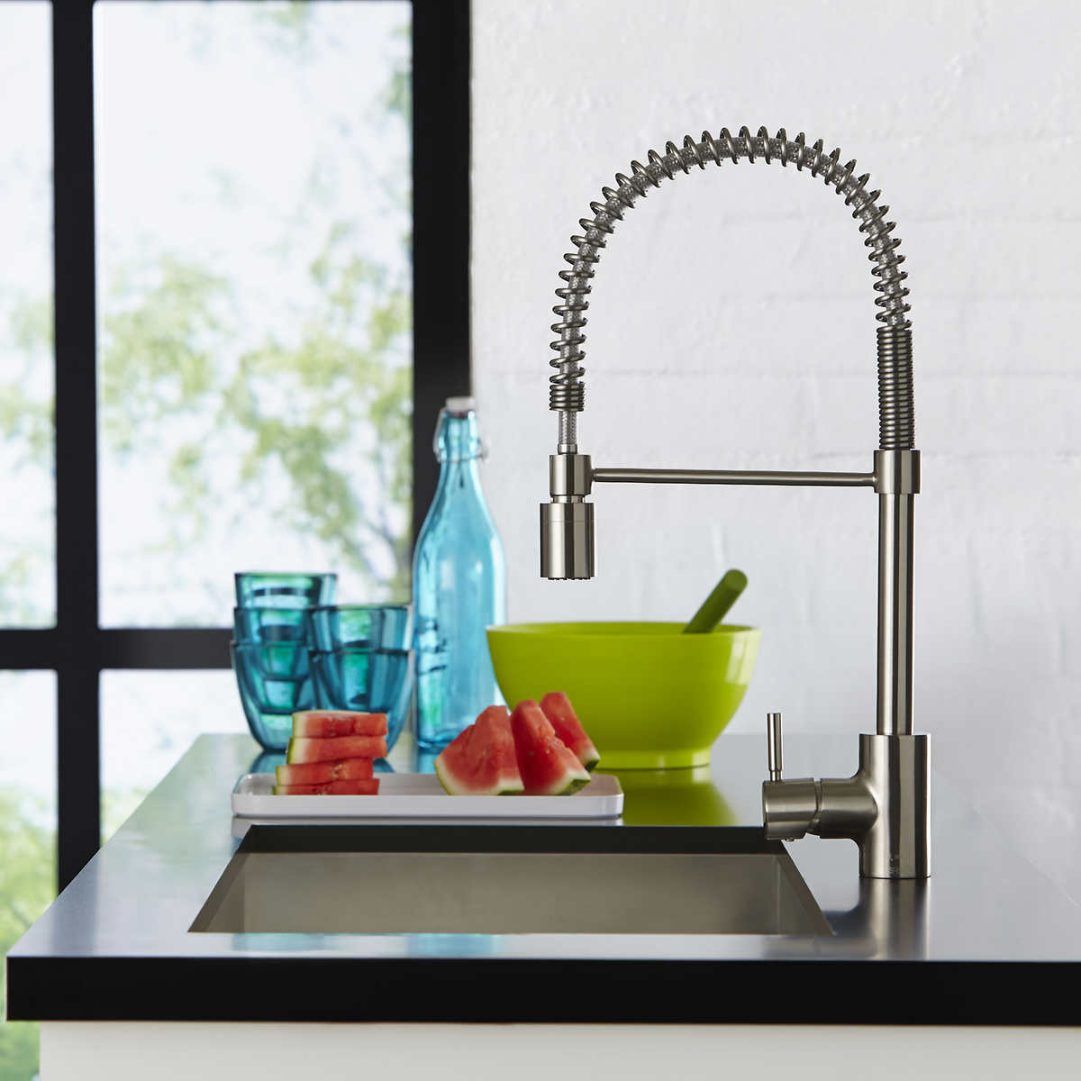 the foodie single handle pull down pre rinse kitchen faucet by