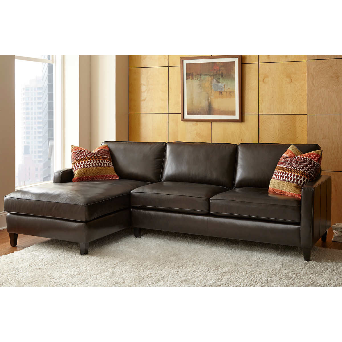 Andersen Top Grain Leather Chaise Sectional Walnut Brown