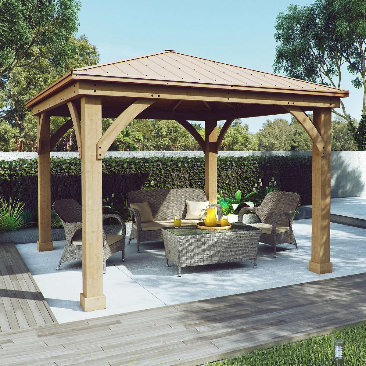 cedar wood 12 u0027 x 12 u0027 gazebo with aluminum roof by yardistry
