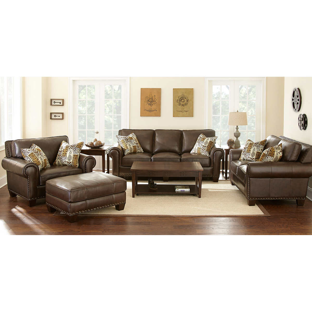 gavin 4-piece top grain leather set