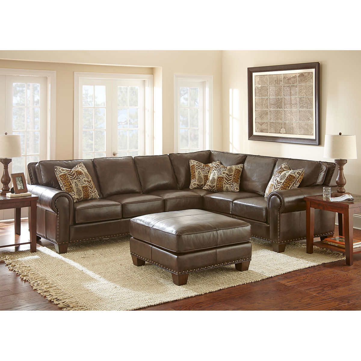 Gavin Top Grain Leather Sectional and Ottoman
