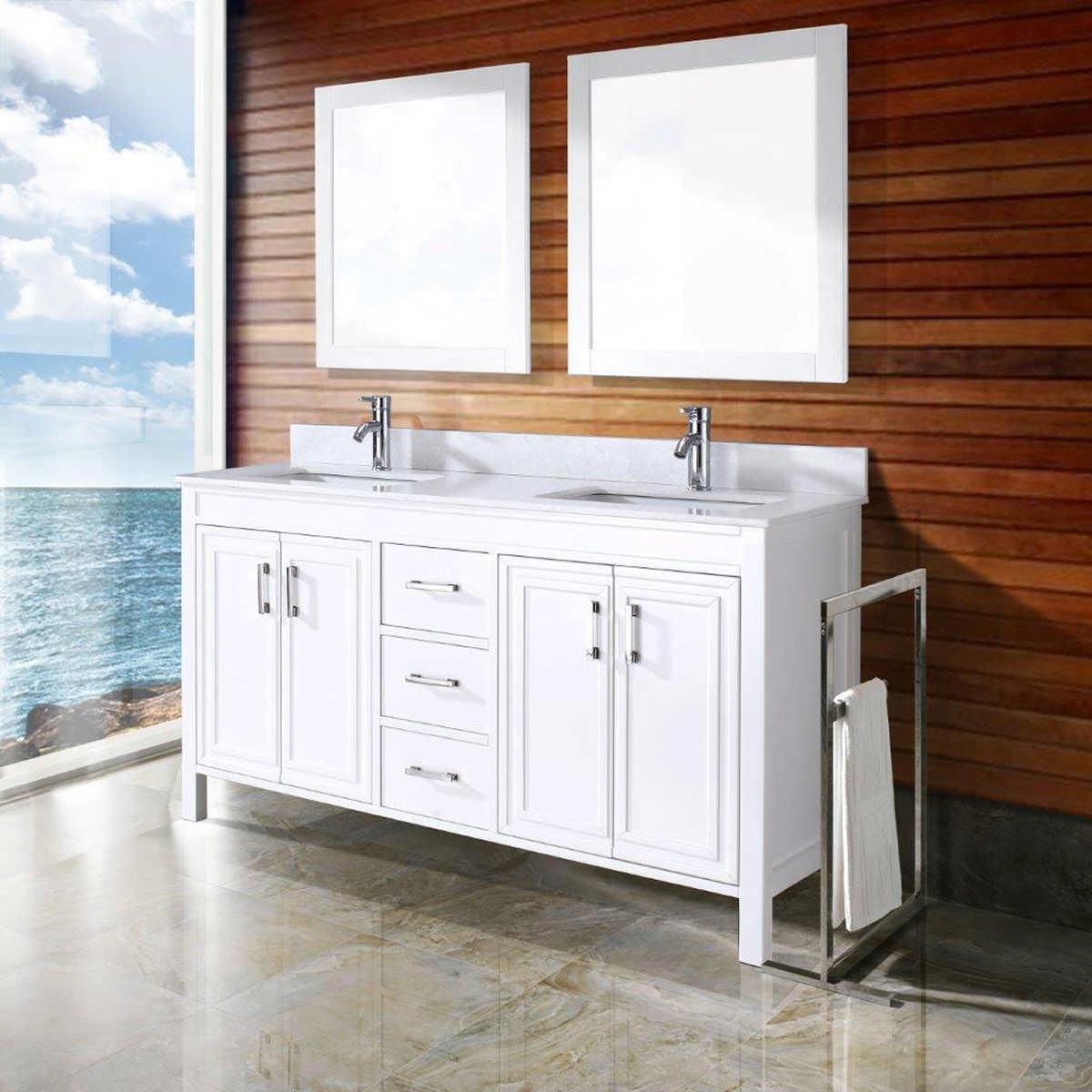 60 Inch Off White Bathroom Vanity double sink vanities | costco
