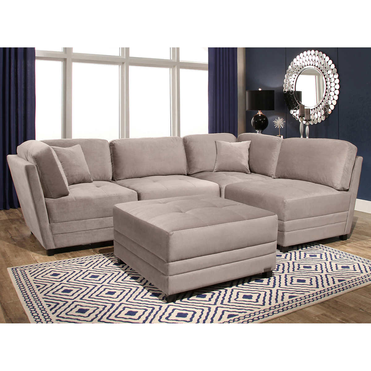 fabric sofas sectionals costco leyla 5 piece fabric modular sectional living room set