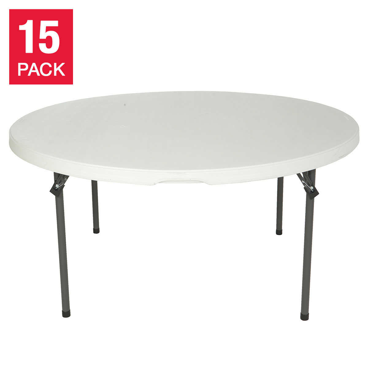 "Lifetime 60"" Round Folding Table 15 pk with Cart White Granite"