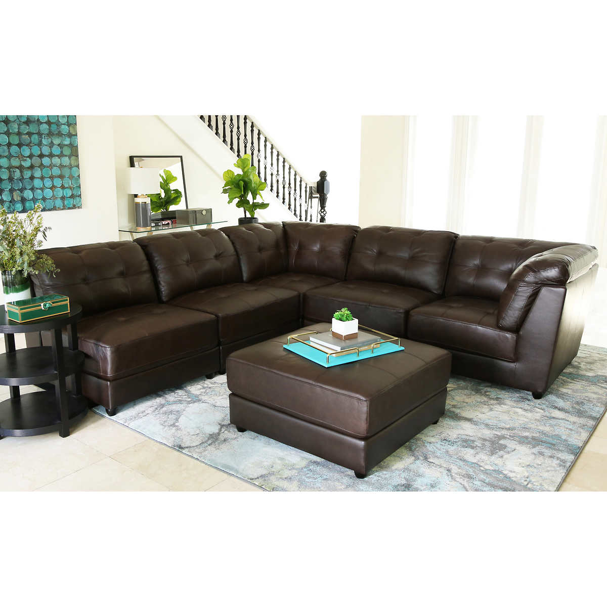 leather sofas sectionals costco erica 6 piece top grain leather modular sectional living room set brown