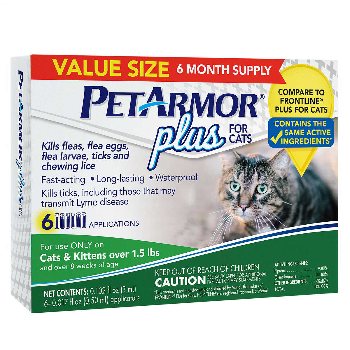 PetArmor Plus Flea Tick and Lice Formula For Cats 6 Month