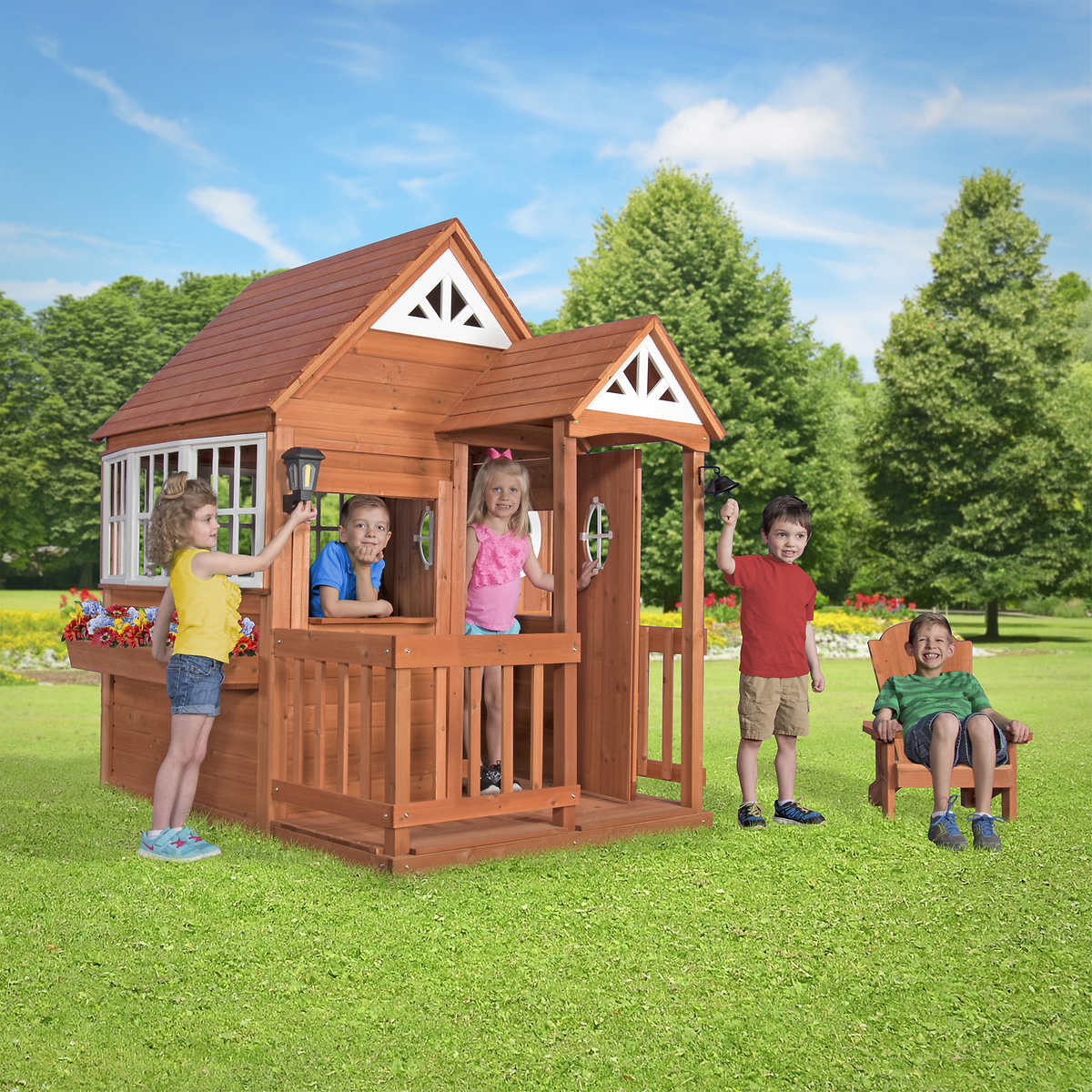 backyard discovery deluxe cedar mansion playhouse