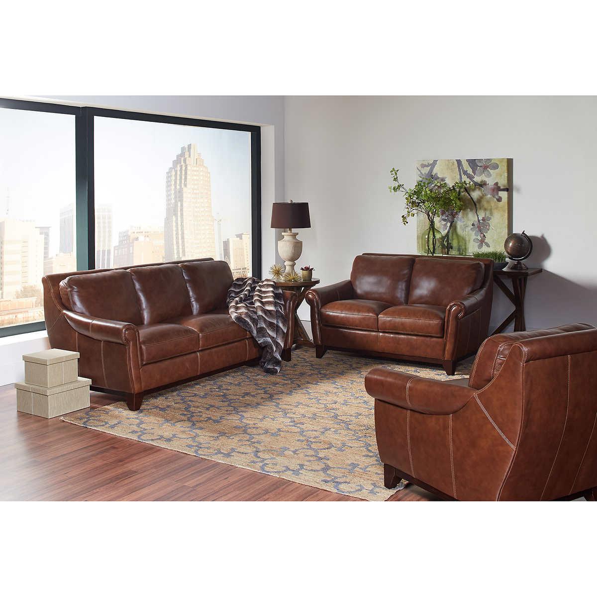leather living room sets costco crofton 3 piece top grain leather living room set