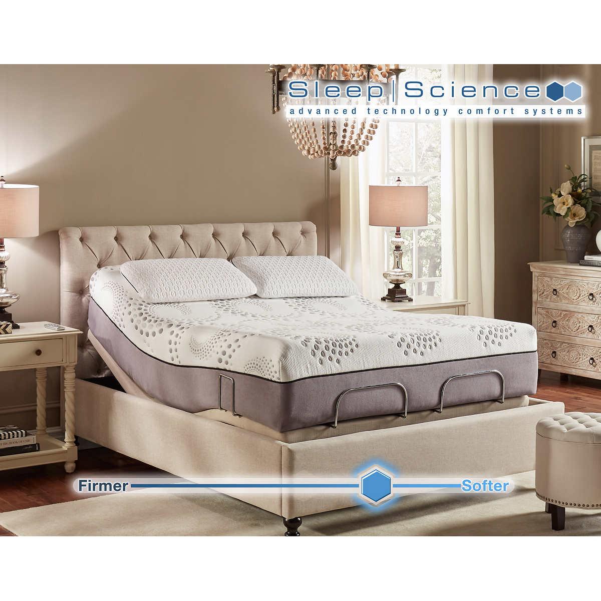 "sleep science ara 13"" queen memory foam mattress with adjustable base"