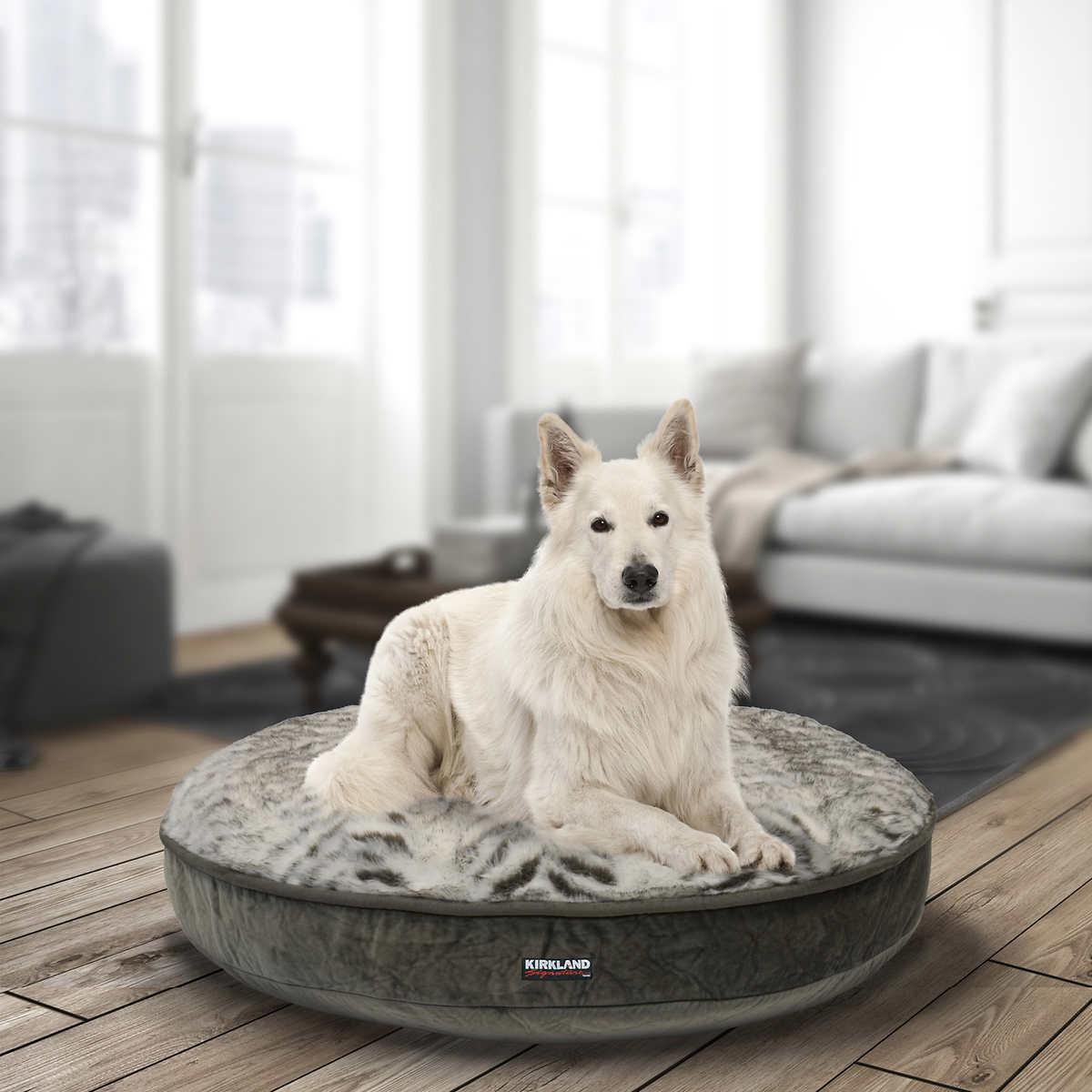 "kirkland signature 42"" round pet bed, grey plush"