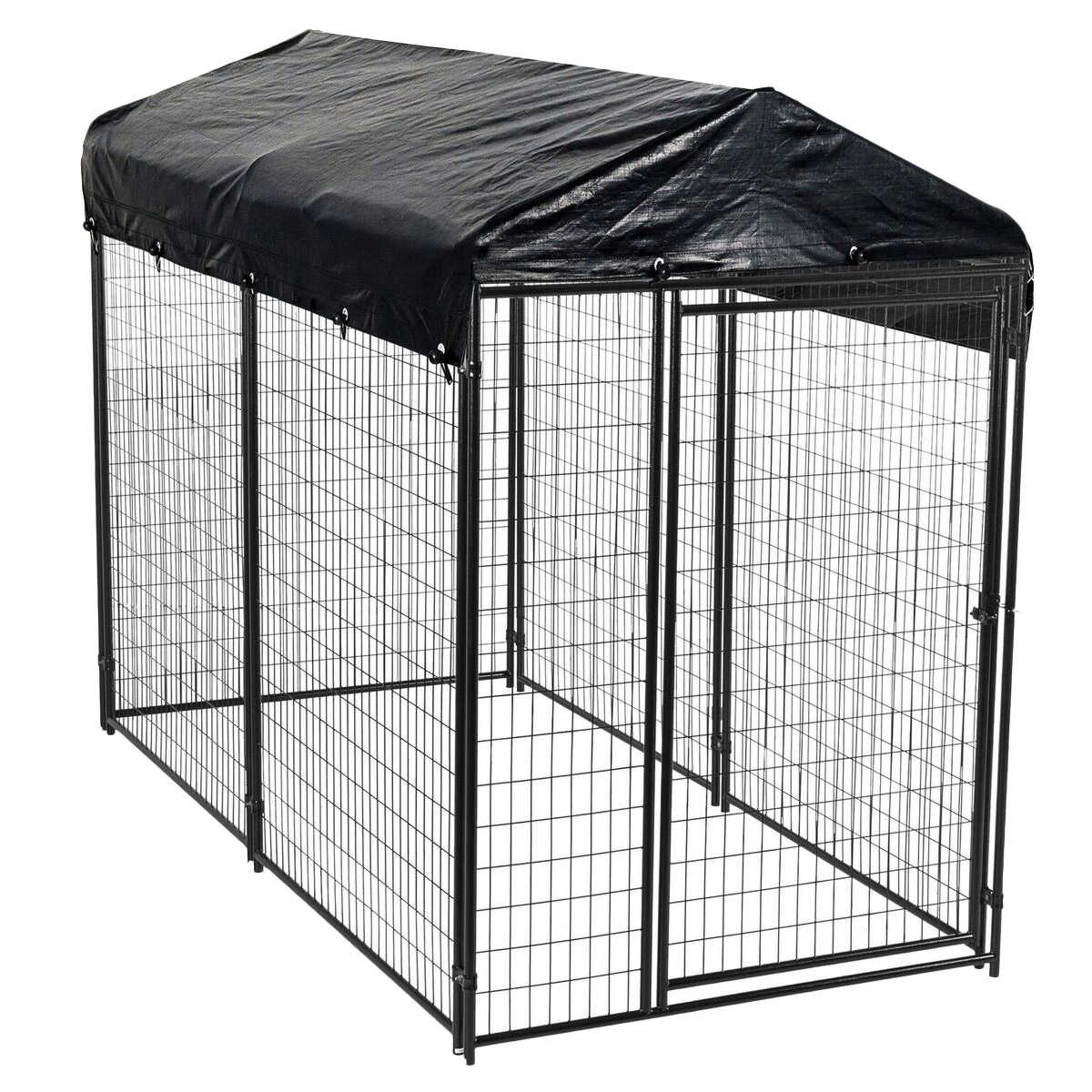 Lucky Dog Black Modular Welded Wire Kennel With Cover 10 L X 5 W