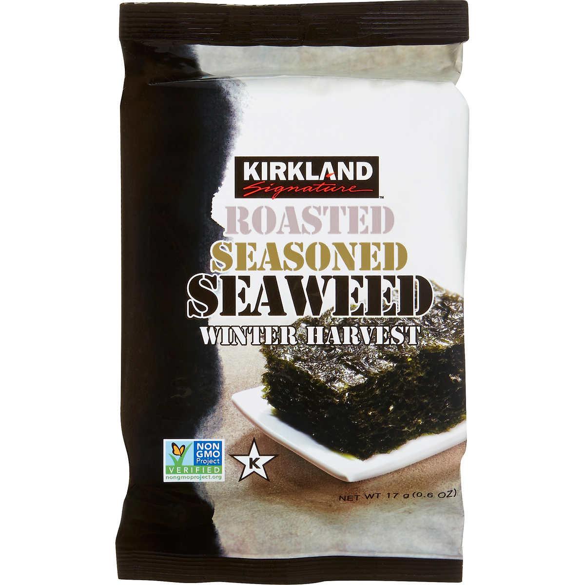 kirkland signature roasted seasoned seaweed 0 60 oz 10 count