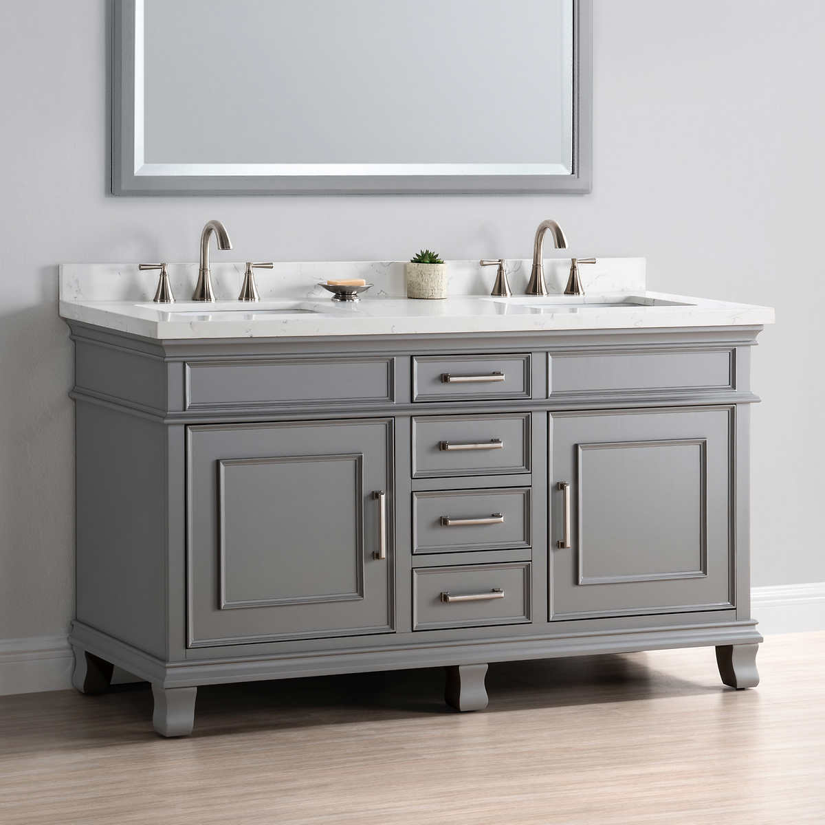 "Bathroom Vanity Gray charleston 60"" gray double sink vanitymission hills"
