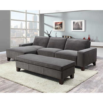 Orion Fabric Chaise Sectional with Ottoman