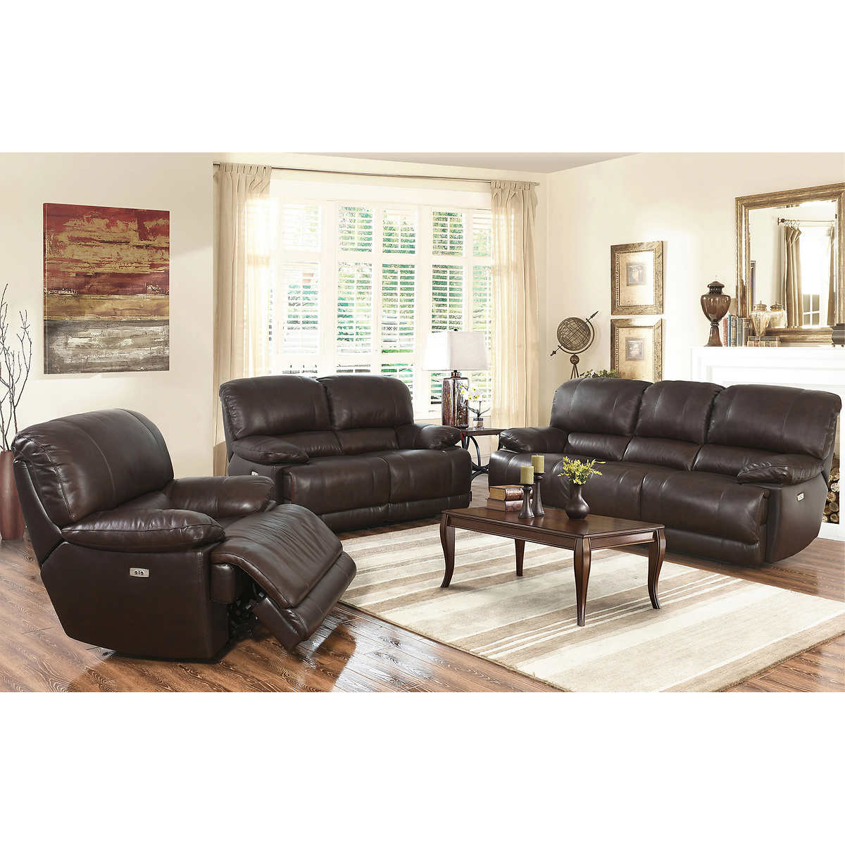 Arleta 3 piece top grain leather power reclining living for 3 piece living room set