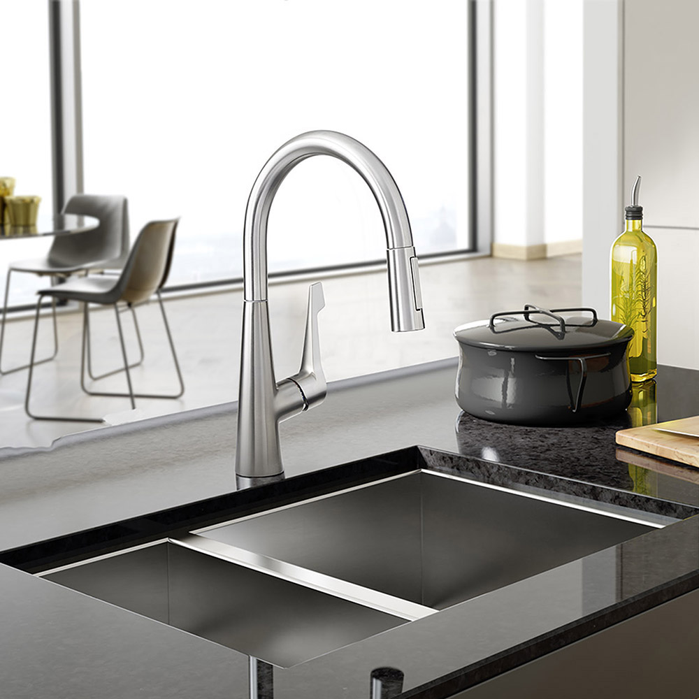 hansgrohe talis m pull down kitchen faucet ebay. Black Bedroom Furniture Sets. Home Design Ideas