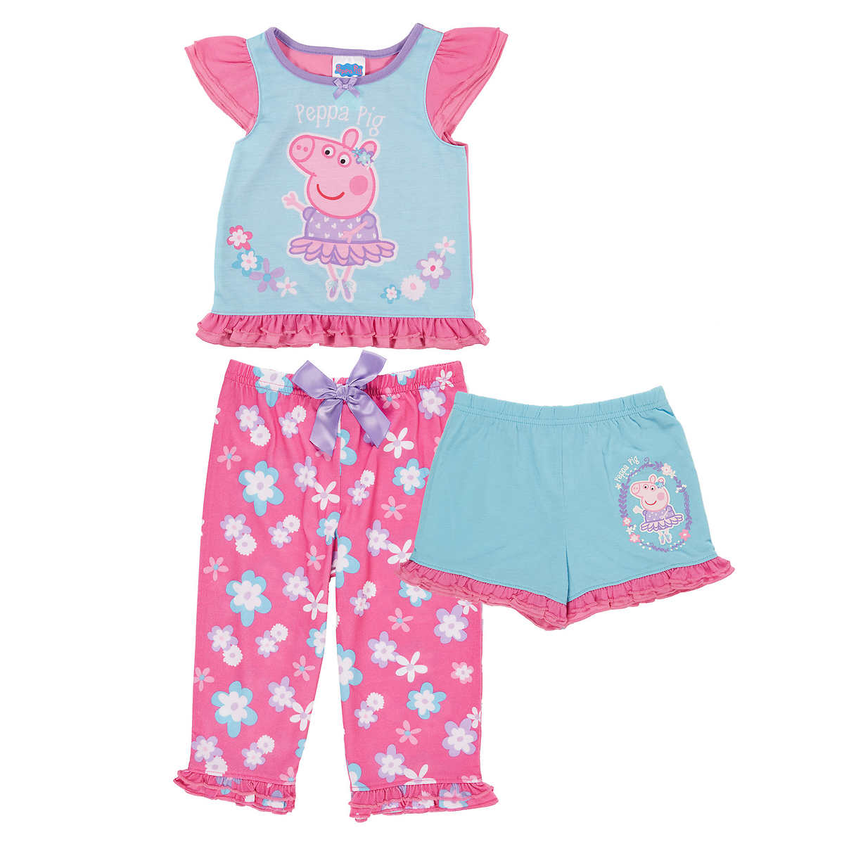 sleepwear character kids 3 piece pajama set peppa pig