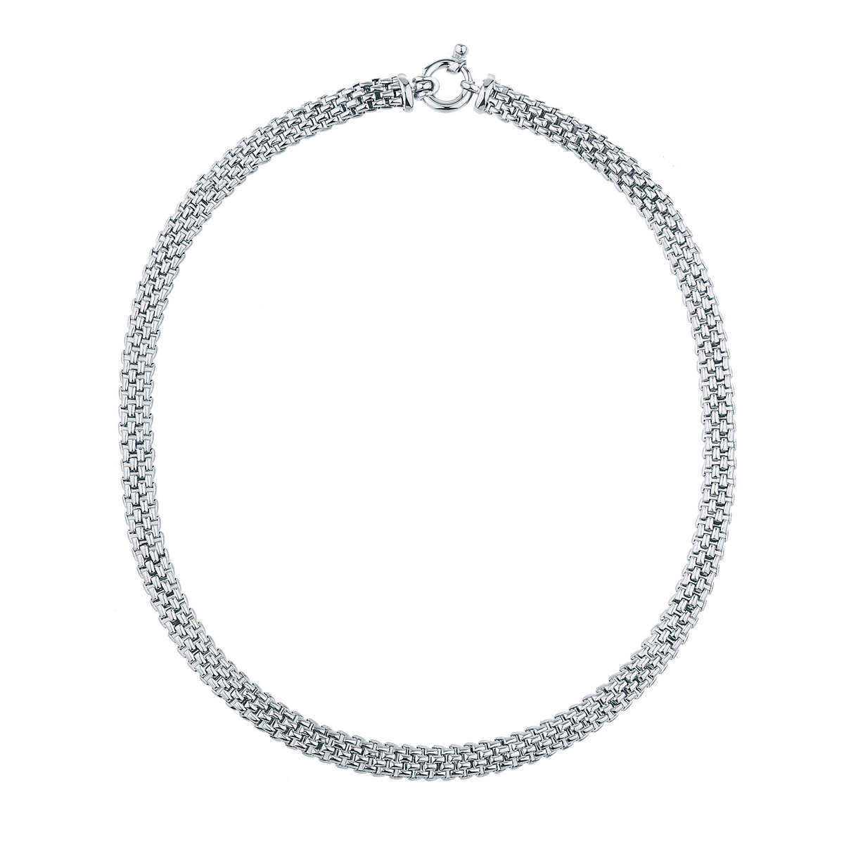 14kt White Gold Brick & Mesh Necklace