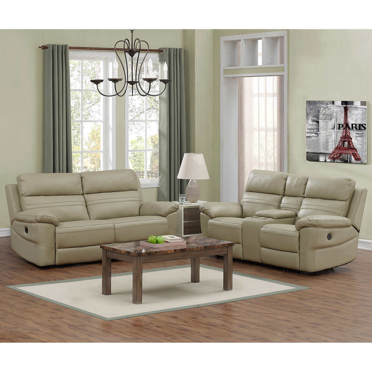 Rockhill 2-piece Top Grain Leather Power-Reclining Living Room Set