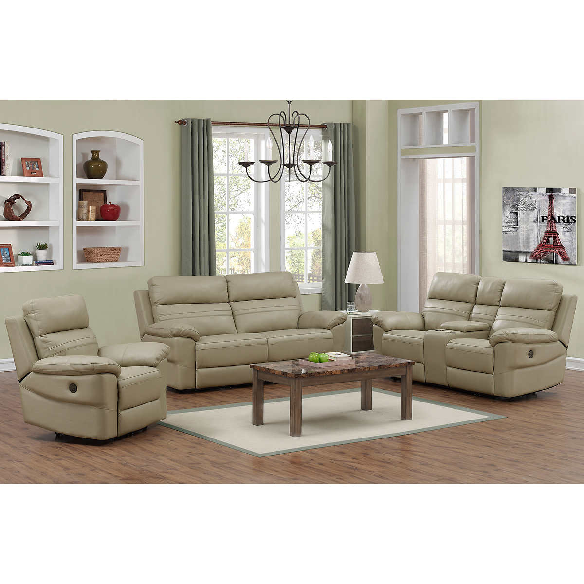 a117ecc82 Rockhill 3-piece Top Grain Leather Power-Reclining Living Room Set